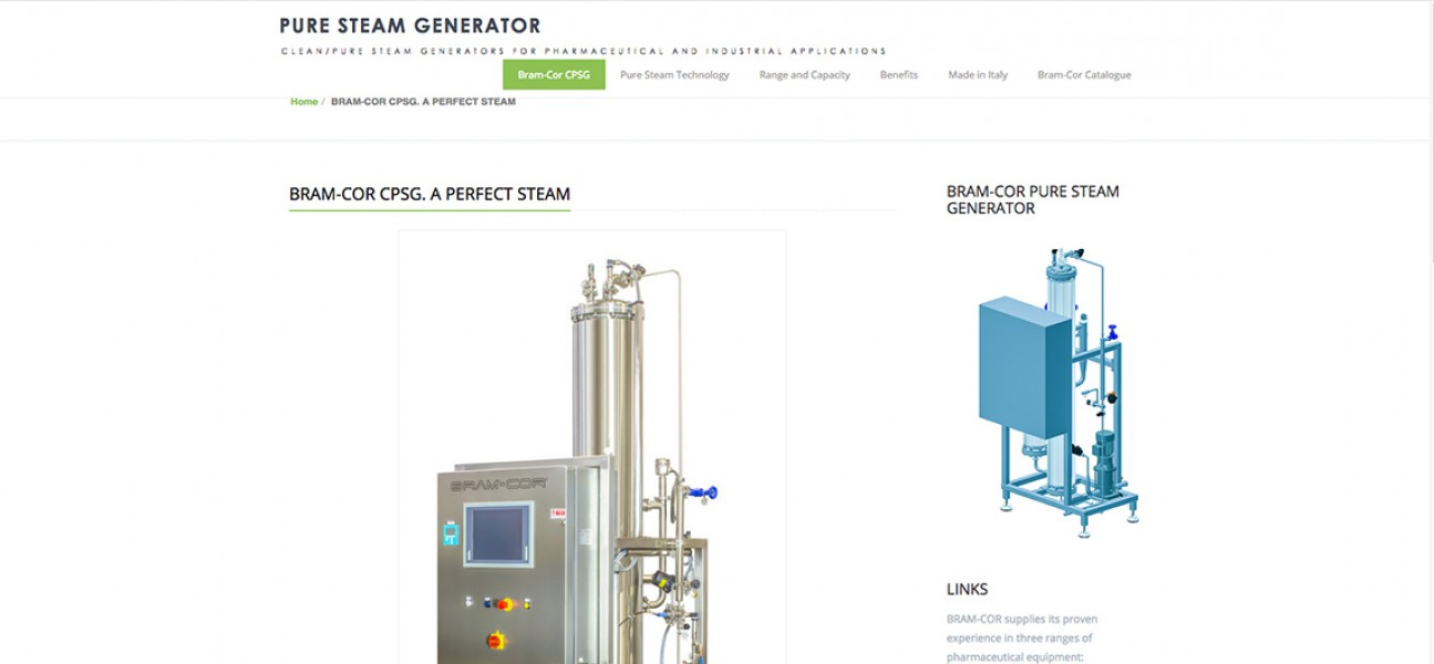 Bram-Cor Pharmaceutical Equipment - Water Treatment Systems - CPSG Pure Steam Generator